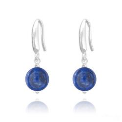 Boucles d'Oreilles Perles 8mm en Argent et Pierres Naturelles - Lapis Lazuli