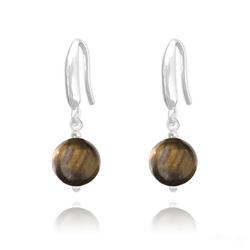 Boucles d'Oreilles Perles 8mm en Argent et Pierres Naturelles - Oeil de Tigre