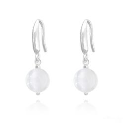 Boucles d'Oreilles Perles 8mm en Argent et Pierres Naturelles - Jade Blanc