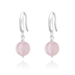 Boucles d'Oreilles Perles 8mm en Argent et Pierres Naturelles - Quartz Rose