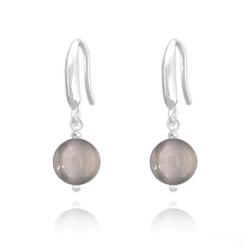 Boucles d'Oreilles Perles 8mm en Argent et Pierres Naturelles - Agate Grise