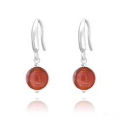 Boucles d'Oreilles Perles 8mm en Argent et Pierres Naturelles - Agate Rouge