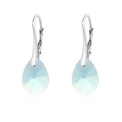 Boucles d'Oreilles Goutte Xilion Cut 12mm en Argent et Cristal Bleu
