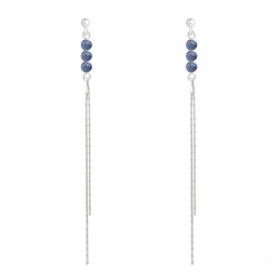 Boucles d'Oreilles Perles Rondes 4mm en Argent et Pierres Naturelles - Sodalite