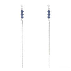 Boucles d'Oreilles en Pierre Naturelle Boucles d'Oreilles Perles Rondes 4mm en Argent et Pierres Naturelles - Sodalite