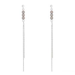 Boucles d'Oreilles en Pierre Naturelle Boucles d'Oreilles Perles Rondes 4mm en Argent et Pierres Naturelles - Agate Grise