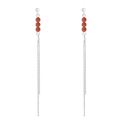 Boucles d'Oreilles Perles Rondes 4mm en Argent et Pierres Naturelles - Agate Rouge