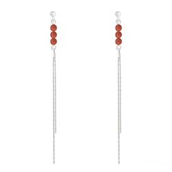 Boucles d'Oreilles en Pierre Naturelle Boucles d'Oreilles Perles Rondes 4mm en Argent et Pierres Naturelles - Agate Rouge