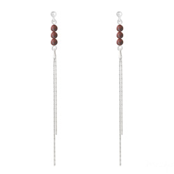 Boucles d'Oreilles Perles Rondes 4mm en Argent et Pierres Naturelles - Jaspe Rouge