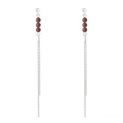 Boucles d'Oreilles en Pierre Naturelle Boucles d'Oreilles Perles Rondes 4mm en Argent et Pierres Naturelles - Jaspe Rouge