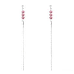Boucles d'Oreilles Perles Rondes 4mm en Argent et Pierres Naturelles - Rhodonite