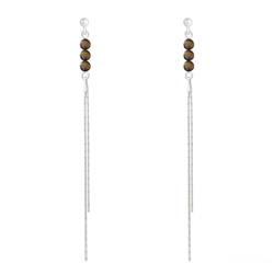 Boucles d'Oreilles Perles Rondes 4mm en Argent et Pierres Naturelles - Oeil de Tigre