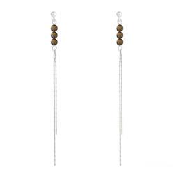 Boucles d'Oreilles en Pierre Naturelle Boucles d'Oreilles Perles Rondes 4mm en Argent et Pierres Naturelles - Oeil de Tigre