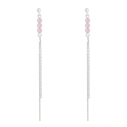 Boucles d'Oreilles Perles Rondes 4mm en Argent et Pierres Naturelles - Quartz Rose