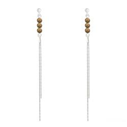 Boucles d'Oreilles en Pierre Naturelle Boucles d'Oreilles Perles Rondes 4mm en Argent et Pierres Naturelles - Unakite