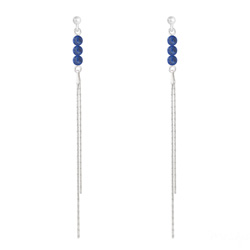 Boucles d'Oreilles Perles Rondes 4mm en Argent et Pierres Naturelles - Lapis Lazuli
