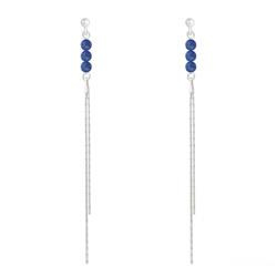 Boucles d'Oreilles en Pierre Naturelle Boucles d'Oreilles Perles Rondes 4mm en Argent et Pierres Naturelles - Lapis Lazuli