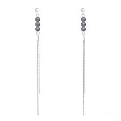 Boucles d'Oreilles Perles Rondes 4mm en Argent et Pierres Naturelles - Labradorite
