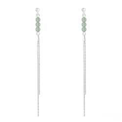 Boucles d'Oreilles Perles Rondes 4mm en Argent et Pierres Naturelles - Aventurine