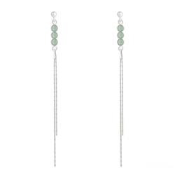 Boucles d'Oreilles Perles Rondes 4mm en Argent et Pierres Naturelles - Aventurine