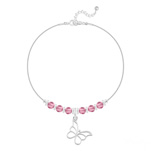 Grossiste Bracelet Papillon et Cristal Facetté 4mm en Argent - Light Rose