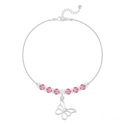 Bracelet en Cristal et Argent Bracelet Papillon et Cristal Facetté 4mm en Argent - Light Rose