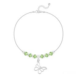 Bracelet en Cristal et Argent Bracelet Papillon et Cristal Facetté 4mm en Argent - Vert Péridot