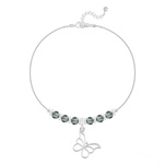 Grossiste Bracelet Papillon et Cristal Facetté 4mm en Argent - Black Diamond