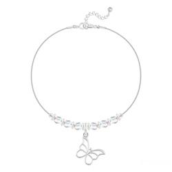 Bracelet Papillon et Cristal Facetté 4mm en Argent - Aurore Boréale