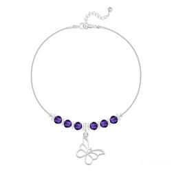 Bracelet Papillon et Cristal Facetté 4mm en Argent - Purple Velvet
