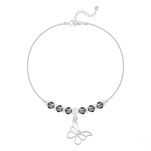 Grossiste Bracelet Papillon et Cristal Facetté 4mm en Argent - Silver Night