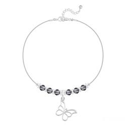 Bracelet Papillon et Cristal Facetté 4mm en Argent - Silver Night