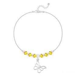 Bracelet Papillon et Cristal Facetté 4mm en Argent - Sun Flower
