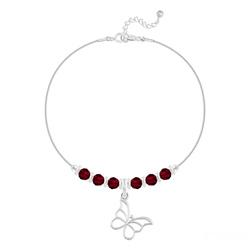 Bracelet Papillon et Cristal Facetté 4mm en Argent - Rouge Siam