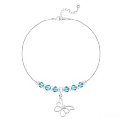 Bracelet Papillon et Cristal Facetté 4mm en Argent - Bleu