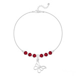 Grossiste Bracelet Papillon et Cristal Facetté 4mm en Argent - Rouge Light Siam