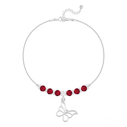 Bracelet Papillon et Cristal Facetté 4mm en Argent - Rouge Light Siam