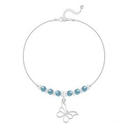 Bracelet Papillon et Cristal Facetté 4mm en Argent - Turquoise