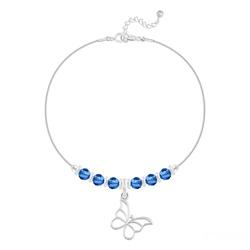 Bracelet Papillon et Cristal Facetté 4mm en Argent - Capri Blue