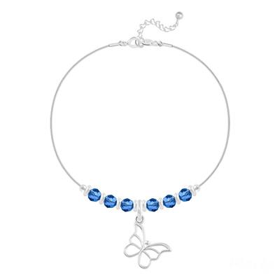 Bracelet en Cristal et Argent Bracelet Papillon et Cristal Facetté 4mm en Argent - Capri Blue