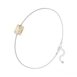 Bracelet Cristal Mini Rectangle 8x6mm sur Chaîne Serpent en Argent - Champagne