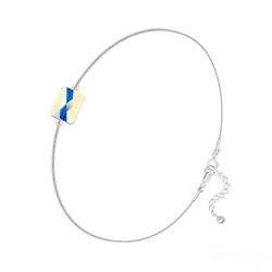 Bracelet Cristal Mini Rectangle 8x6mm sur Chaîne Serpent en Argent - Aurore Boréale