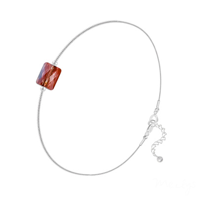 Bracelet en Cristal et Argent Bracelet Cristal Mini Rectangle 8x6mm sur Chaîne Serpent en Argent - Red Magma