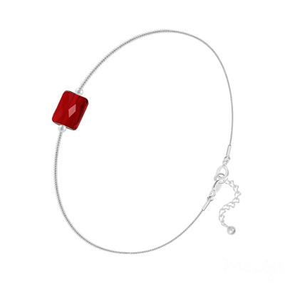 Bracelet en Cristal et Argent Bracelet Cristal Mini Rectangle 8x6mm sur Chaîne Serpent en Argent - Rouge Siam