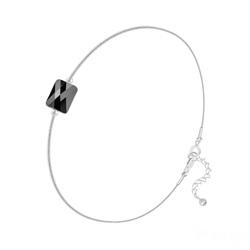 Bracelet en Cristal et Argent Bracelet Cristal Mini Rectangle 8x6mm sur Chaîne Serpent en Argent - Jet (Noir)