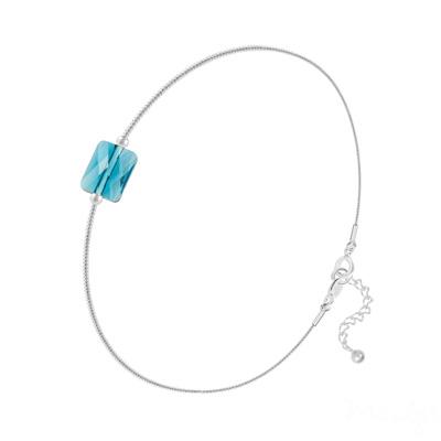 Bracelet en Cristal et Argent Bracelet Cristal Mini Rectangle 8x6mm sur Chaîne Serpent en Argent - Indicolite