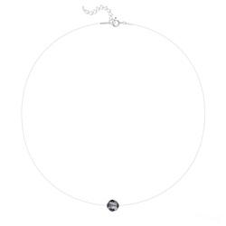 Collier en Cristal et Argent Ras de Cou Cristal 8mm sur Fil Nylon Transparent et Argent - Silver Night