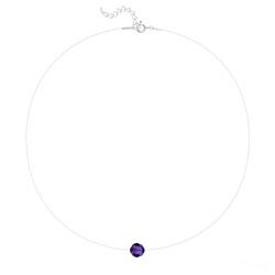 Ras de Cou Cristal 8mm sur Fil Nylon Transparent et Argent - Purple Velvet