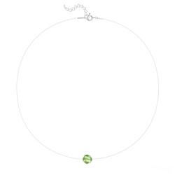 Ras de Cou Cristal 8mm sur Fil Nylon Transparent et Argent - Vert Péridot