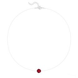 Ras de Cou Cristal 8mm sur Fil Nylon Transparent et Argent - Rouge Light Siam